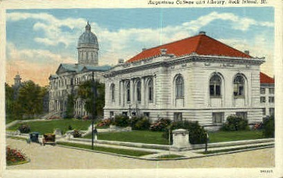 Augustana College & Library - Rock Island, Illinois IL Postcard