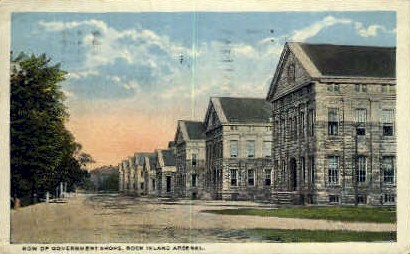 Government Shops - Rock Island, Illinois IL Postcard