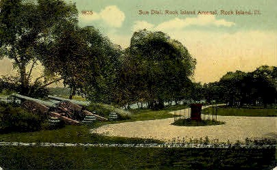Sun Dial - Rock Island, Illinois IL Postcard