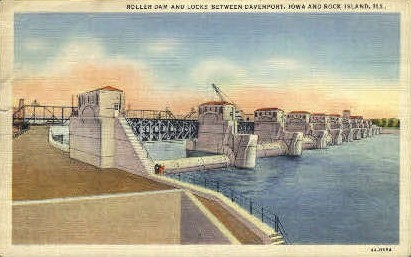 Roller Dam - Rock Island, Illinois IL Postcard