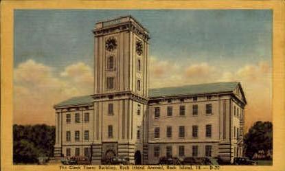 Clock Tower Bldg. - Rock Island, Illinois IL Postcard