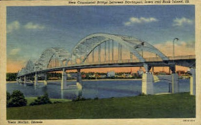 New Centennial Bridge - Rock Island, Illinois IL Postcard