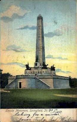 Lincoln Monument - Springfield, Illinois IL Postcard