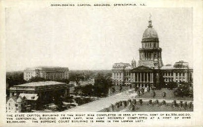Capitol Grounds - Springfield, Illinois IL Postcard