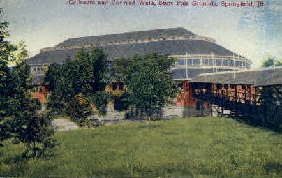 Coliseum & Covered Walk - Springfield, Illinois IL Postcard
