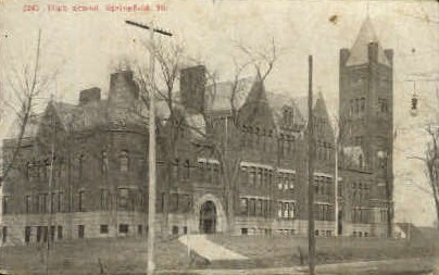 High School - Springfield, Illinois IL Postcard