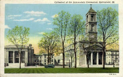 Cathedral of the Immaculate Conception - Springfield, Illinois IL Postcard