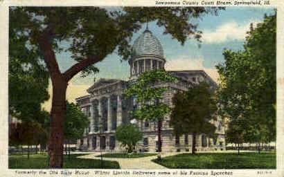Sangamon County Court House - Springfield, Illinois IL Postcard