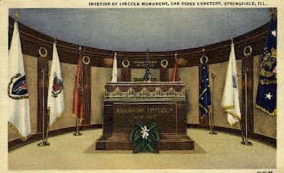 Interior of Lincoln Monument - Springfield, Illinois IL Postcard