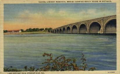 Vachel Lindsay Memorial Bridge - Springfield, Illinois IL Postcard