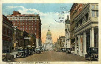 Capitol Ave. West - Springfield, Illinois IL Postcard