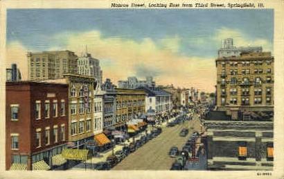 Monroe St. East - Springfield, Illinois IL Postcard