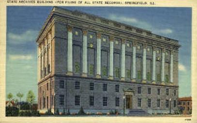State Archives Bldg. - Springfield, Illinois IL Postcard