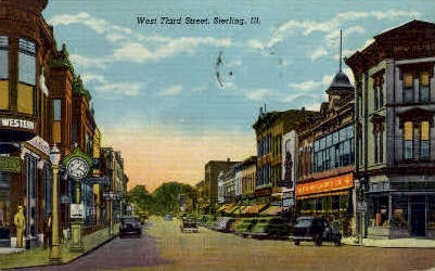 West Third St. - Sterling, Illinois IL Postcard