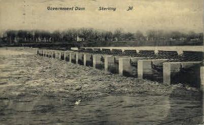 Government Dam - Sterling, Illinois IL Postcard