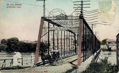 1st Ave. Bridge - Sterling, Illinois IL Postcard