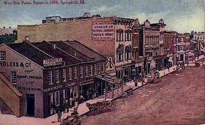 West Side Public Square - Springfield, Illinois IL Postcard