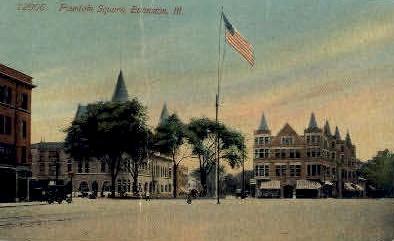 Fountain Square  - Evanston, Illinois IL Postcard