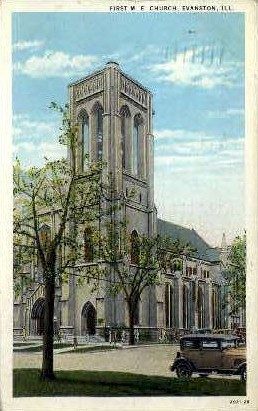 1st M.E. Church - Evanston, Illinois IL Postcard