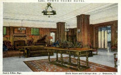 Lobby, North Shore Hotel - Evanston, Illinois IL Postcard