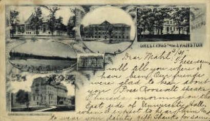 Greetings - Evanston, Illinois IL Postcard