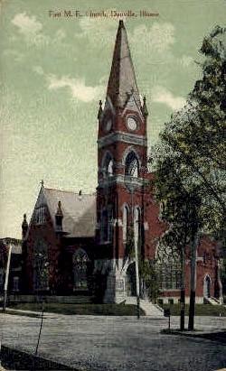 1st M.E. Church - Danville, Illinois IL Postcard