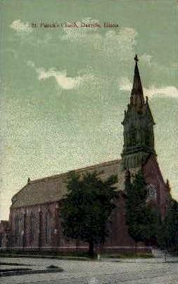 St. Patricks Church - Danville, Illinois IL Postcard