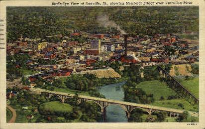 Memorial Bridge - Danville, Illinois IL Postcard