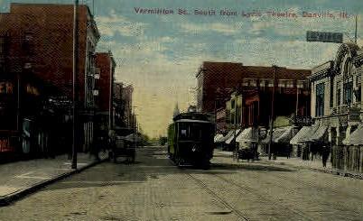 Vermilion St. South - Danville, Illinois IL Postcard