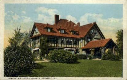 Home of Mr. Julius Hegeler  - Danville, Illinois IL Postcard