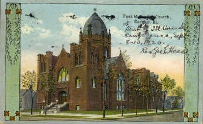 1st Methodist Church - Decatur, Illinois IL Postcard