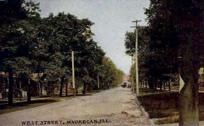 West St.  - Waukegan, Illinois IL Postcard