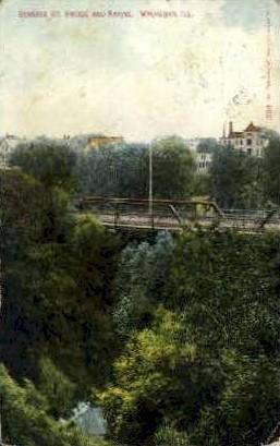 Genesee St. Bridge - Waukegan, Illinois IL Postcard