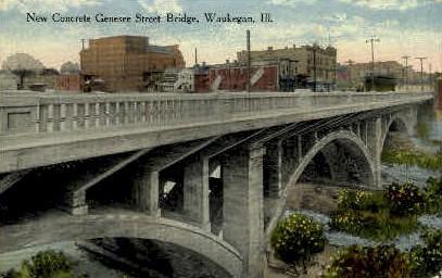 Concrete Genesee St. Bridge - Waukegan, Illinois IL Postcard