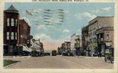 Washington St. East - Waukegan, Illinois IL Postcard