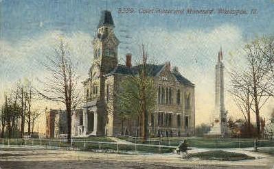 Court House & Monument - Waukegan, Illinois IL Postcard