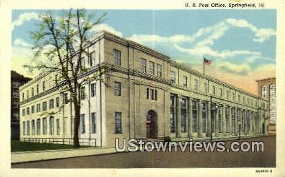 US Post Office - Springfield, Illinois IL Postcard