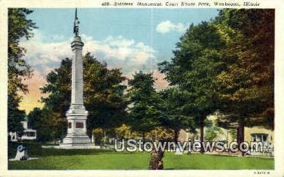 Soldier's Monument, Court House Park - Waukegan, Illinois IL Postcard
