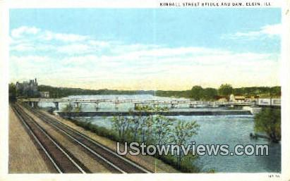 Kimball Street Bridge & Dam - Elgin, Illinois IL Postcard