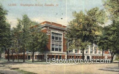 Washington School - Danville, Illinois IL Postcard