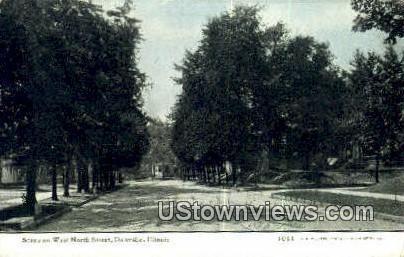West North Street - Danville, Illinois IL Postcard