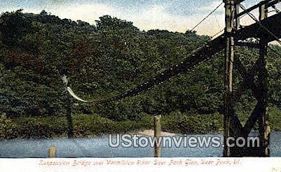 Suspension Bridge - Deer Park, Illinois IL Postcard