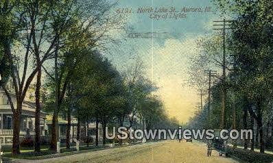 North Lake Street - Aurora, Illinois IL Postcard