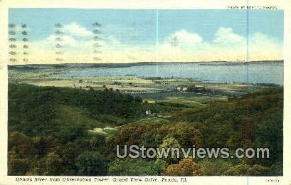 Illinois River, Grand View Drive - Peoria Postcard