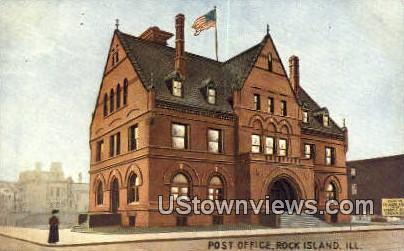 Post Office - Rock Island, Illinois IL Postcard