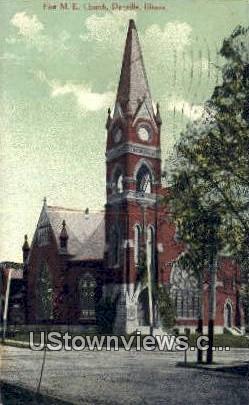 First ME Church - Danville, Illinois IL Postcard