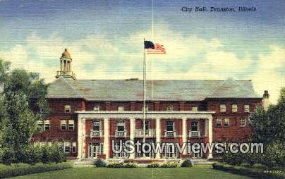 City Hall - Evanston, Illinois IL Postcard