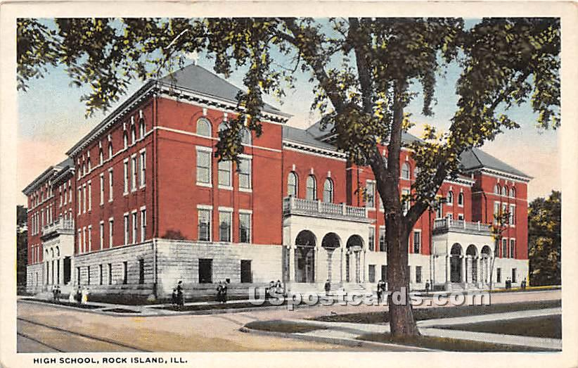 High School - Rock Island, Illinois IL Postcard
