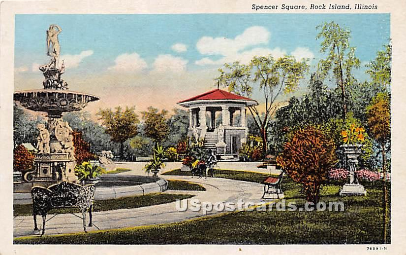 Spencer Square - Rock Island, Illinois IL Postcard