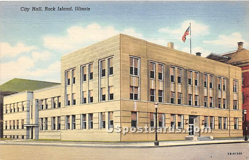 City Hall - Rock Island, Illinois IL Postcard